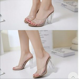 Shoes - Brand New Nude Lucite Mules